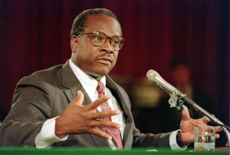 Then-U.S. Supreme Court nominee Clarence Thomas during confirmation hearings before the Senate Judiciary Committee in Washington, Sept. 10, 1991. PHOTO: J. DAVID AKE/AFP/GETTY IMAGES