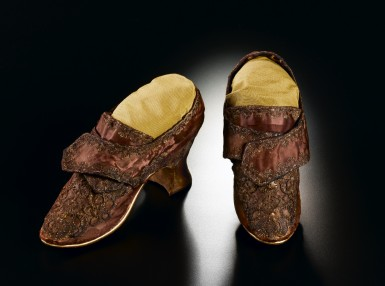 Made of purple silk, these shoes are believed to have been worn by Martha Dandridge Custis during her wedding to George Washington. (Mount Vernon Ladies' Association)
