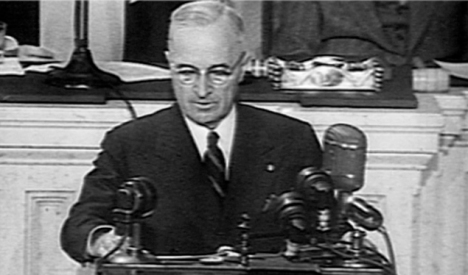 Truman delivering his Truman Doctrine speech