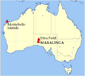 Map showing nuclear test sites in Australia