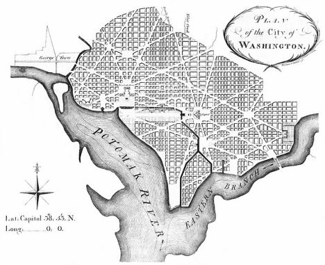"Thackara & Vallance's March 1792 print of Ellicott's [sic] ""Plan of the City of Washington""."