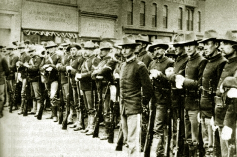 Federal soldiers on South Front Street in Rock Springs, 1885.