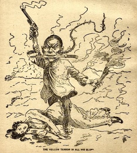 """A caricature of a Chinese worker wearing a queue an 1899 editorial cartoon titled """"The Yellow Terror In All His Glory"""""""