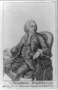 Engraving of Benjamin Franklin while serving as envoy from the American Congress to  the French Court