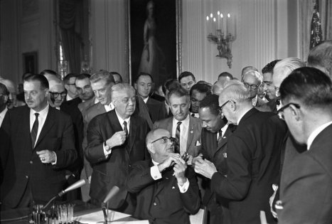 President Johnson Signing The Civil Rights Act On July 2 1964